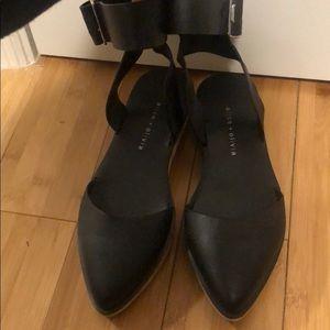 Alice + Olivia Black Leather Ankle Strap Sandal